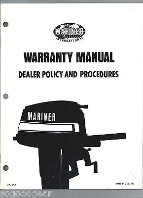 Mariner Outboards Dealer Warranty 24 Page Policy Manual 1974