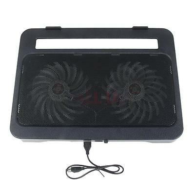 "15-17"" Notebook PC Laptop 2 Fan Blue LED USB Port Air Cooling Cooler Pad Stand"