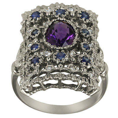 Amethyst Oval And Sapphires In Antique Diamond Ring
