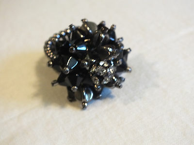 Beautiful Silver Tone Cocktail Ring Stretch Black Beads Clear Rhinestones Dangle