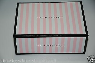 Victoria Secret Cute  Pink White Black Stripes Gift Box Medium Size