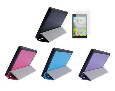 Slim Folio Cover Case + Screen Protector for Amazon Kindle Fire HD 8 2015 Tablet