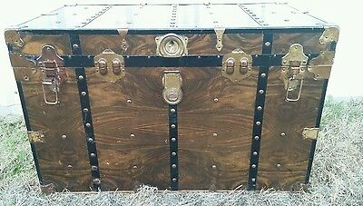 Antique Vintage Metal Wood Foot Locker Trunk Iron Duke Travel Things