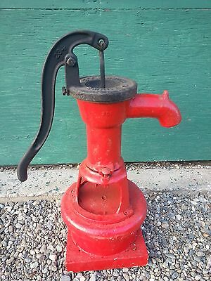 Antique Cast Iron Hand WATER PUMP in Good  Condition Mounted on a Wooden Block