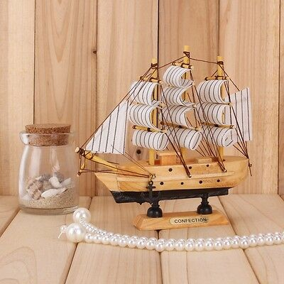 Handcrafted Nautical Decor Wooden Model Ship Sailing Boat Home Photography #8