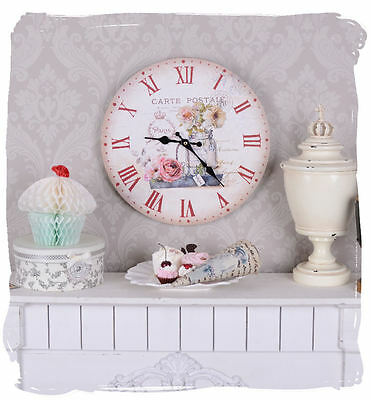 Vintage Kitchen Clock Country House Style Watch Nostalgia Postcard Wall Clock