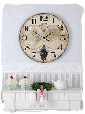 Wall Clock Antique Map Of The World Shabby Watch Suspension Large Clock