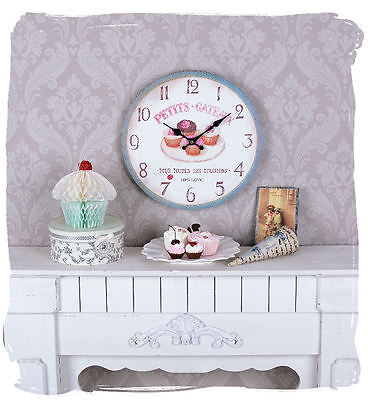 Shabby Chic Wall Clock French Country House Style Watch Cupcakes Tartlet