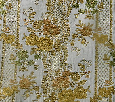 vintage retro french provincial roses floral brocade fabric gold