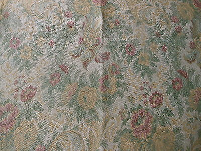 Vintage Retro French Victorian Floral Tapestry Fabric ~ Rose Sage Gold