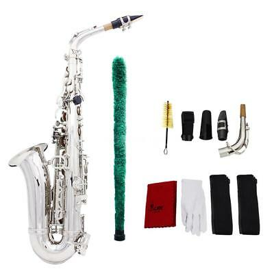 Professional Brass Golden Eb Alto Sax Saxophone with Case + Care Kit Silver UO3I