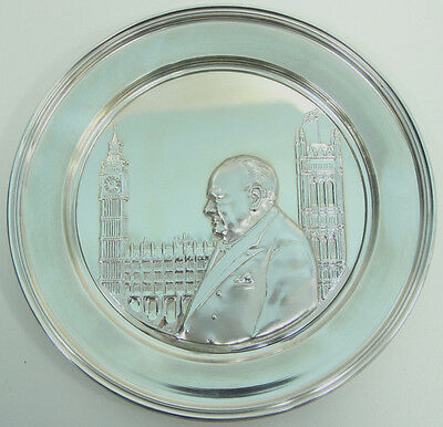 """Winston Churchill """"Hour of Decision"""" Sterling Silver Collector's Plate"""