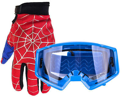 Youth Motocross Spiderman Gloves and Blue Goggles ATV Dirt Bike