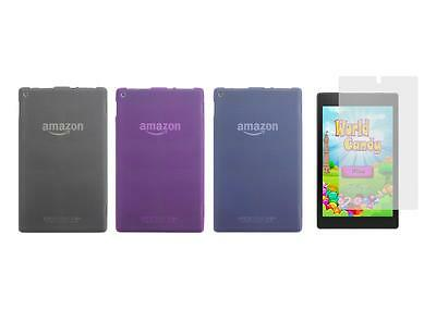 TPU Gel Skin Cover Case and Screen Protector for Amazon Kindle Fire HD 8 2015