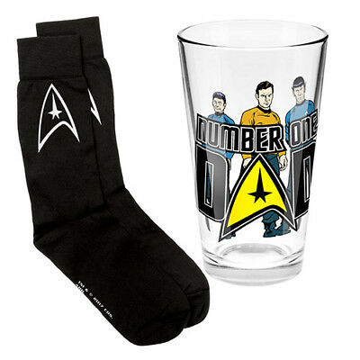 Star Trek Number One Dad Conical Glass & Socks Pack Fathers Day Birthday Gift