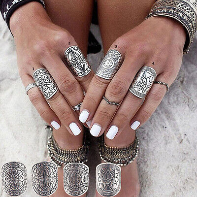 4Pcs Vintage Gypsy Boho Carved Totem Antique Silver Plated Midi Rings for Women