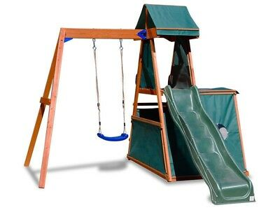 Lifespan Kids Hawke Play Centre Slide And Swing Outdoor Play Equipment Green