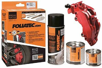 Brake Caliper Lacquer Paint Set Rosso Red Cleaner Steel Brush Gloves - Foliatec