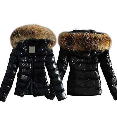damen schlank daunenjacke fell kragen mit kapuze steppjacke winter. Black Bedroom Furniture Sets. Home Design Ideas