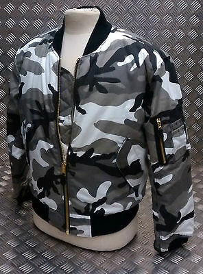 MA1 US Military Style Bomber Jacket MOD / Scooter Urban Camo All Sizes - NEW