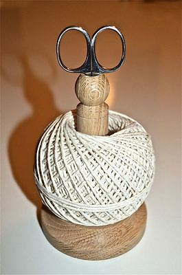 Superb Quality English Made Solid Oak String Tidy Stand With Scissors Twine