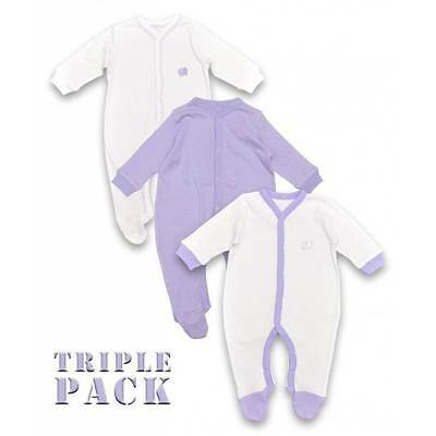 Baby Boy Girl Sleepsuit Onesie Triple Pack Choose From Lilac Blue Or Grey Cotton