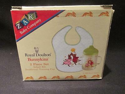 Infant Bib & Double Wall Training Cup Royal Doulton Bunnykins 1996 New DB671