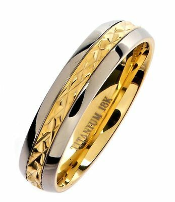 5mm 18K Gold Plated Wedding Ring Grade 5 Titanium Band Comfort Fit Size 12