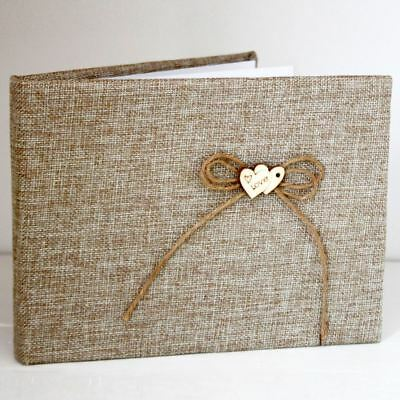 Hessian Guest Book With Love Wooden Heart Approx 60 Pages - Rustic Wedding