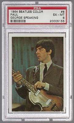 1964 The Beatles Color Paul Mccartney W/ George Speaking Card #8 Psa 6 Ex-Mt
