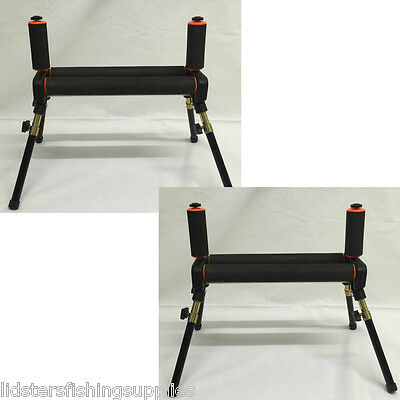 2 x Double Twin Pole Rollers 4 leg Folding rod rest Stand Pole Fishing Tackle