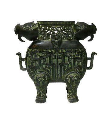 Chinese Green Bronze-ware Ram Ox Ding Display cs1044 SF Free Shipping