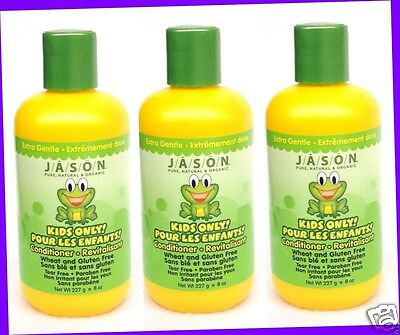 3 JASON Kids Natural ORGANIC Extra Gentle CONDITIONER Gluten Free PARABEN FREE