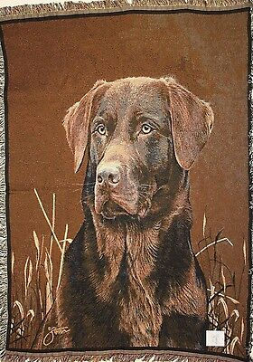 Chocolate Lab Labrador Retriever Large Throw Blanket Cotton Woven- Made In USA