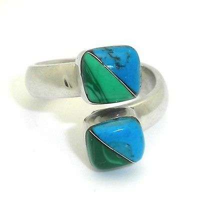 Handmade Two Cube Malachite Turquoise Wrap Ring