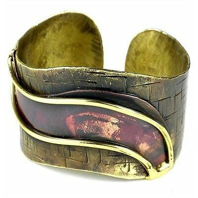Handmade Red Wave Copper and Brass Cuff