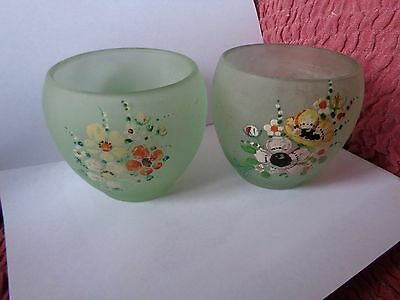 Pair Of Hand Painted Floral Small Green Satin Depression Glass Vases