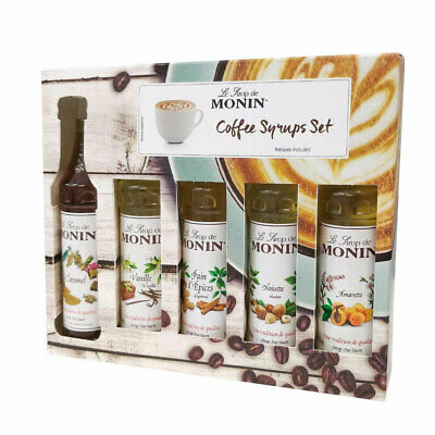 Monin Coffee Syrup Set 5x 50ml Bottles - Gift Set including 5 Syrups