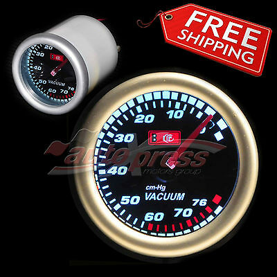 "52mm 2.0"" 12V 270 Degree WHITE Light SMOKED Lens Auto Gauge Meter VACUUM RATIO"