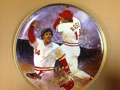 Autograph Pete Rose Limited Edition Plate Diamond Collection by  Gartlan USA