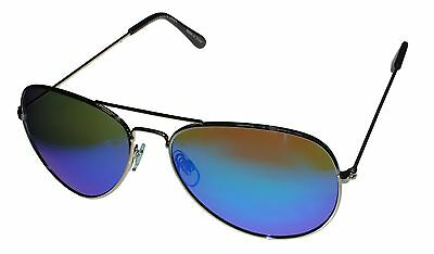 Perry Ellis Mens Sunglass PE47 2 Classic Gold Metal Avaitor, Blue Flash Lens