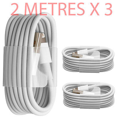 3x Extra Long 2M USB LEAD SYNC DATA CABLE CHARGER FOR iPhone 7 6 PLUS 5 5S iPad