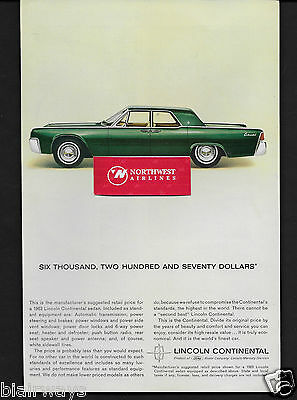 Lincoln Motor Cars 1963 Continental Sedan Emerald Green For $6,275 Ad