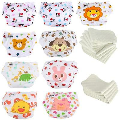 5 Set Diaper w/ Inserts Lovely Adjustable Washable Cloth  Nappies Waterproof