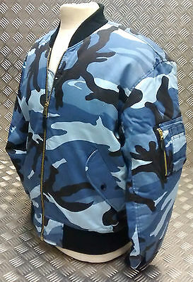 MA1 US Military Style Bomber Jacket MOD/Scooter Midnight Camo All Sizes - NEW