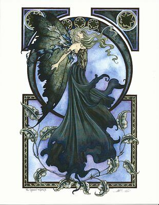 Amy Brown Fairy Faery Print The Green Faerie Art Deco Nouveau Ivy Blue 8.5x11""