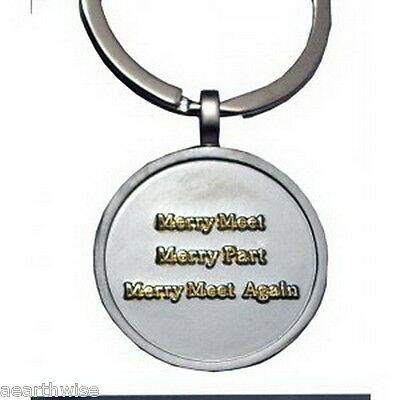 MERRY MEET KEY RING Wicca Pagan Witch Goth GOLD ON SILVER MATT PEWTER