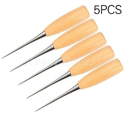 Leather Craft Cloth Sewing Awl Wood Handle Hole Punch Stitching Overstitch Tool