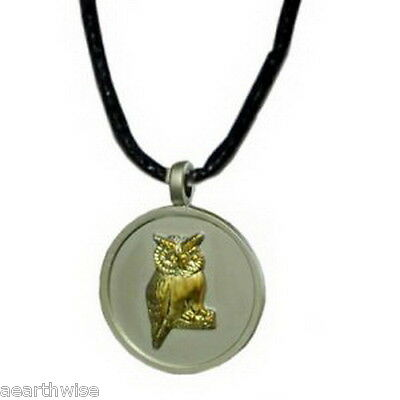 GOLDEN OWL ON SILVER PEWTER PENDANT ON CORD Wicca Pagan Witch Goth  PEWTER