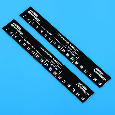 2X DIGITAL STICK ON THERMOMETER FOR HOME BREW 2C TO 36C Beer Spirits wine